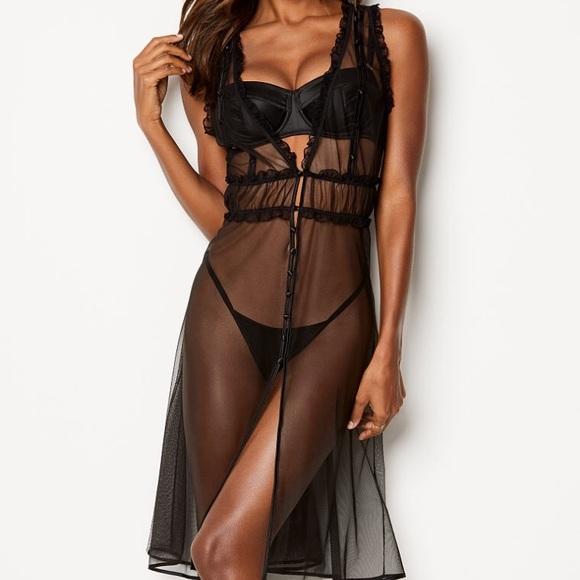 Victoria s Secret button gown lingerie sheer robe 9032ddd04